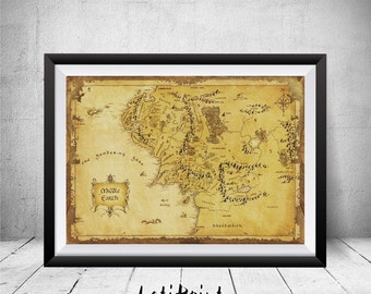 middle earth map lord of the rings print middle earth print lord of