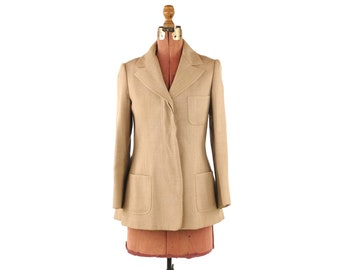 Vintage 1970's Anne Klein and Company 100% Wool Tan Tailored Safari Sport Blazer Jacket S