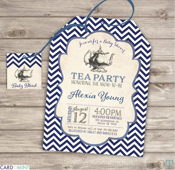 Baby shower tea party shower invitations navy blue theme party like this item filmwisefo Gallery