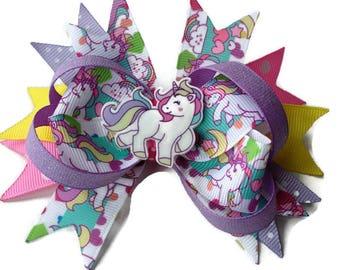 Unicorn hair bow ~ Unicorn hair clip ~ Rainbow hair clip ~ unicorn large stacked boutique hair bow ~ Large Rainbow Unicorn hair accessory