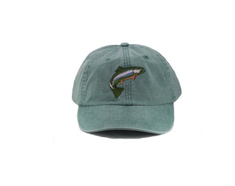 Trout embroidered hat, baseball cap, dad hat, mom cap, wildlife cap, animal, fish, rainbow trout, fishing, fisherman hat, father's day, gift