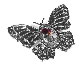 Steampunk Jewelry Brooch Pin Ornate Silver BUTTERFLY Vintage ELGIN Watch Red Swarovski Crystal Wedding Anniversary - Jewelry by edmdesigns