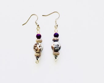 Purple Sparkle and Glass Bead Earrings