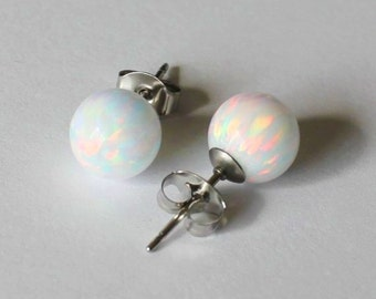 6mm surgical steel opal earring studs, Fire opal studs, Opal earring, Birthstone gifts, White opal studs, Bridesmaid earrings, Orange opal