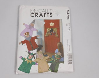 Doorway Theater and Puppets Sewing Pattern, McCall's M4796, Homeschool, Frog Prince, Princess Puppet, King, Jester, Queen