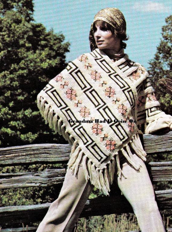 Poncho Knitting Pattern Pdf Instant Download Aztec Cloak Wrap