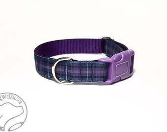 """Pride of Scotland Tartan Dog Collar - 1"""" (25mm)Wide - Purple Plaid - Choice of style and size - Martingale Dog Collars or Quick Release"""