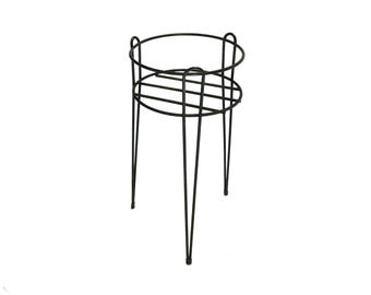 Vintage Black Wire Plant Stand with Hairpin Legs, Retro Plant Stand, Patio, Porch, Mid Century