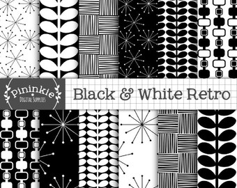 Black and White Retro Digital Paper, 50's Patterns, Digital Scrapbook Paper, Backgrounds, Instant Download, Commercial Use