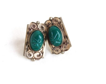 Mexican Screw Back Earrings Green Art Nouveau Face Mask Screwbacks Vintage Alpaca Colonial Style Statement Jewelry Under 25