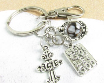 Sobriety Keychain, AA Recovery Keychain, Let Go Let God Keyring, Recovery Gifts, Sobriety Support, AA Sponsor Gifts, Addiction Recovery Gift