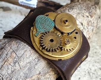 Timeless  Baloon Mechanism Steampunk Leather Wristband Cuff -Watch part Bracelets-Steampunk cuffs-steampunk fashion jewelry gift