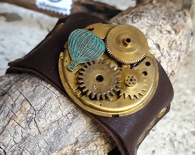 Featured listing image: Timeless  Baloon Mechanism Steampunk Leather Wristband Cuff -Watch part Bracelets-Steampunk cuffs-steampunk fashion jewelry gift