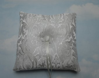 Brocade ring pillow. White wedding ring cushion.