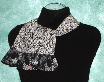 Short silk scarf with ruffles from my Fibre Mountain Collection,  Narrow scarf, Upcycled kimono, Japanese, Black and White, 60s style, 307