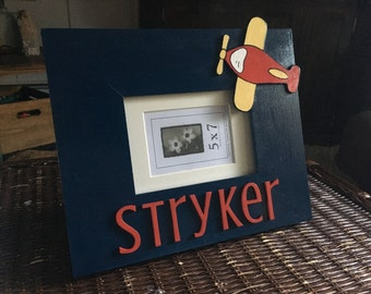 Airplane picture frame, kid picture frame, airplane decor, transportation, nursery for boy