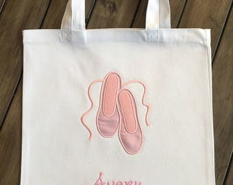 Personalized Dance Ballet Shoes Tote Bag - Several Color Options Available