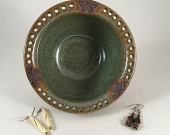 Jewelry Bowl, Pottery Earring Holder, Handmade Earring Bowl, Pinecone, Stoneware Pottery, Ready to Ship!!