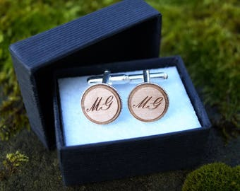 Custom Cufflinks - Silver Plated Wood - Initials - Text - Wedding groom best man