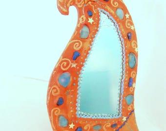 Vanity mirror ' curve ' orange 20 x 28 cm