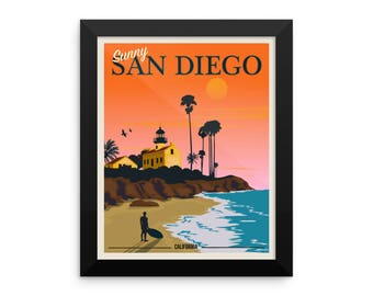 Sunny San Diego California Sunset | Framed Travel Poster