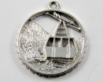 Banff Gondola Ride in Canadian Rockies Sterling Silver Charm or Pendant.