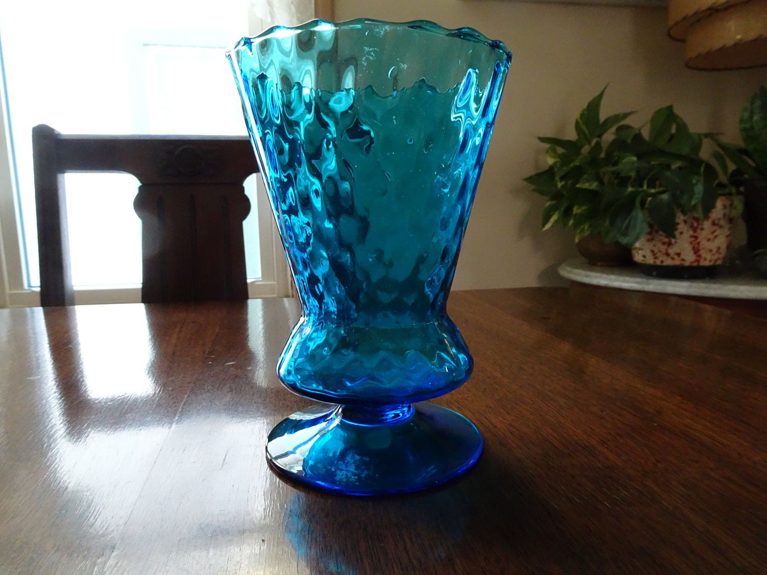 Teal Glass Vase Made In Italy Aqua Glass Vase Blue Glass