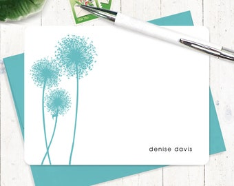 Personalized Note Card Set - personalized stationary - dandelion stationery - modern flower - nature - set of 12 flat note cards - DANDELION