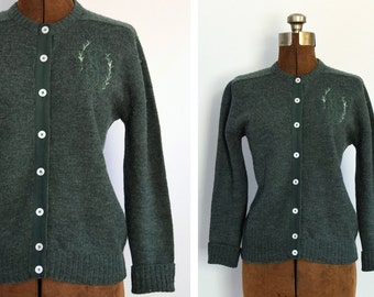 1950s Rosemary Forest Green Cardigan with Monogram and Embroidery
