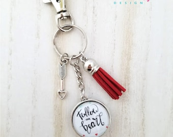 Follow Your Heart Keychain-Love Keychain-Valentine's Gift-Heart and Arrow-Tassel Keychain-Double side Keychain-Heart to Heart Collection