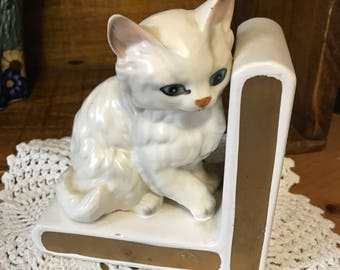 Vintage lefton white cat bookend.