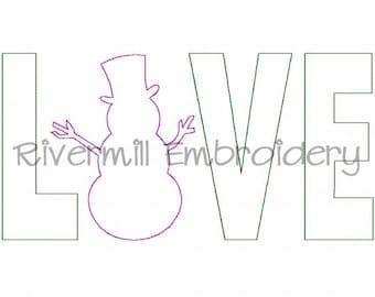 Raggy Applique Snowman Love Machine Embroidery Design - 4 Sizes