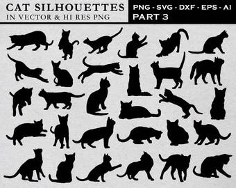 Cat Silhouette Clipart, Cat Silhouette Clip Art, Cat Clipart, Cat Clip Art PNG & Vector EPS, AI Design Elements Instant Download