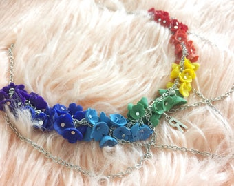 Bright rainbow flower necklace with layers and a personalized letter.Polymer clay.100% handmade