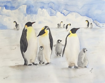 Penguins watercolor art Original watercolor painting Winter art Nature art Animals watercolor Original art Home decor Wall art Gift idea