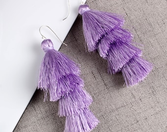 Four Layered Purple Tassel Earrings With Sterling Silver Ear Wires Dangle Earrings Long Statement Earrings
