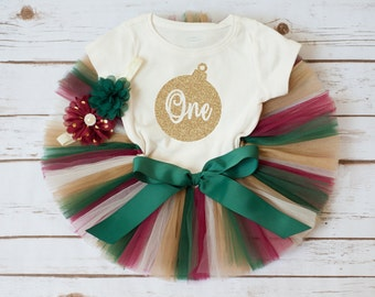 """Christmas first birthday outfit """"Harper"""" Christmas birthday winter first birthday outfit holiday first birthday tutu outfit girl tutu set"""