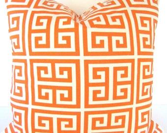 ORANGE THROW PILLOWS Orange Decorative Throw Pillow Covers Orange Pillow Covers salmon orange Greek Key Pillow 16x16 Home decor .Sale.