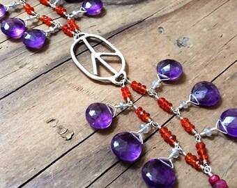 Peace Bracelet / Amethyst Bracelet / Carnelian Bracelet / Bohemian Bracelet / Gemstone Bracelet