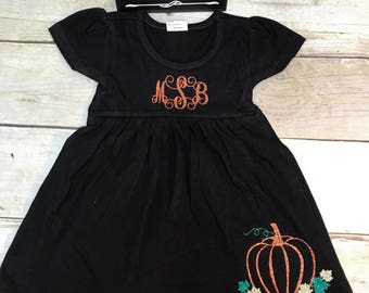 Baby dress, Thanksgiving  dress, Halloween dress, fall dress, monogrammed baby dress, dress with pumpkins, personalized  baby dress, infant