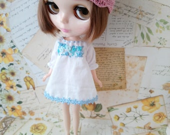 blythe blouse dress for pullip Neo blythe licca dal shibajuku embroidery clothes outfit clothing 1/6 scale vintage style