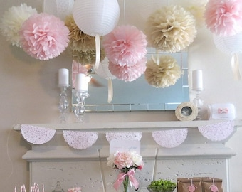 Set of 9 units (3+3+3) of  tissue paper pom poms - ivory tan pale pink - handmade - lots of colours to choose from