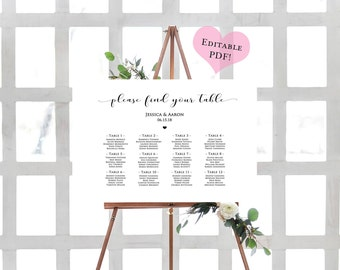 Seating Chart Wedding Template- DIY Seating Chart- Seating Chart Template- Wedding Seating Chart-Table Seating Chart-Printable Wedding Chart