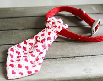 Romantic Red Hearts Handmade Smart Dog Tie