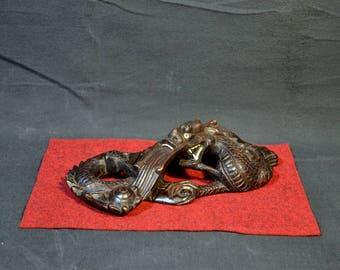 Early Hand Carved Dragon, Mythological Serpent, Asian, Ebony