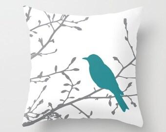 Bird on Branch Pillow  - Teal Decor - Teal Pillow  - Bird Pillow  - Modern Home Decor - By Aldari Home