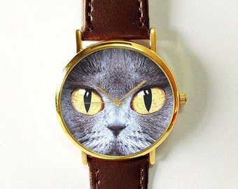 Cat Face Watch  , Women Watches,  Leather Watch, Mens Watch  Boyfriend Watch, Cat Lover, Jewelry, Silver Gold Rose , Unique Watches, Gift