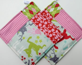 Modern Christmas, Holiday, or Winter Quilted Potholder Set
