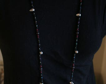 """41"""" beaded necklace with silver and white skulls"""