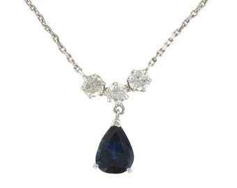 Pendant white gold blue Sapphire diamonds